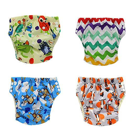 Training Waterproof Pants (Ohbabyka Waterproof Reusable Baby Diaper Training Pants, 4PCS (Training pants012))