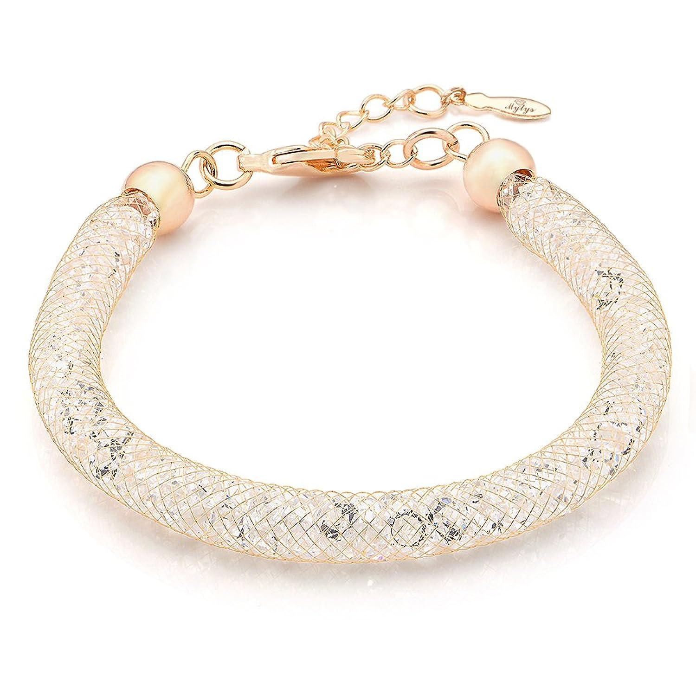 Amazoncom Mytys 18k Rose Gold Mesh Crystal Charm Bracelet Cubic