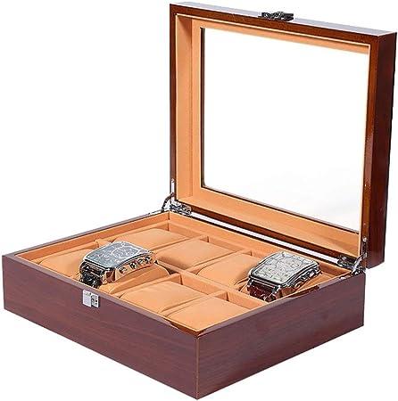0LL 3/5/6/8/12 Compartimentos, Caja para Relojes Madera Cajas y Organizadores, Estuche de Relojes, Hebilla Metálica Coleccion y Almacenamiento (Size : Brown(8 watchs)): Amazon.es: Hogar