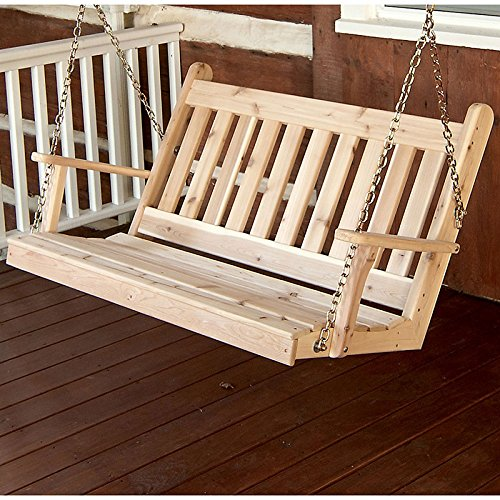 A&L Furniture Co. Traditional English Red Cedar Porch Swing ... (5 Foot, Unfinished)