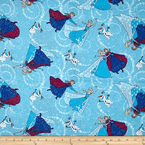 Springs Creative Products Disney Frozen Sisters Ice Skating Toss Glitter Blue Fabric by The Yard,