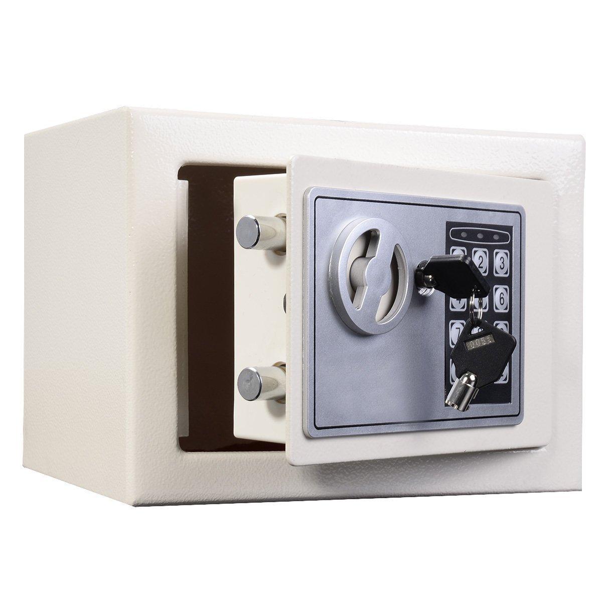 Caja de Seguridad electrónica electrónica Seguridad Digital DE 4,6 L para el hogar y la Oficina para almacenar Objetos Pequeños valiosos, Caja de Seguridad Blanca con Llave fb6f72