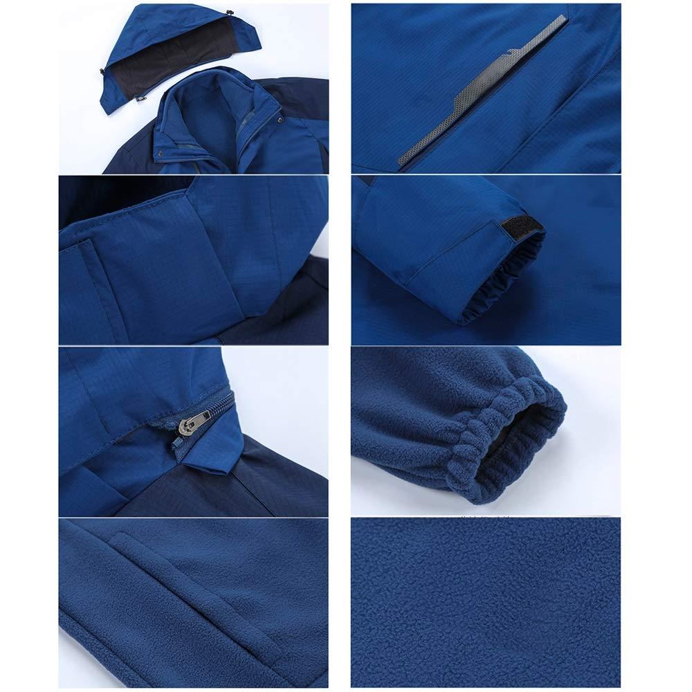 LZXMXR Vêtements de Montagne Automne et Hiver Hommes Deux pièces Trois-en-Un Coupe-Vent Veste imperméable Amovible à Froid C