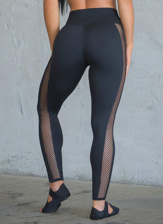 Hioinieiy Women/'s High Waist Tummy Control Sheer Mesh Workout Running Sport Gym Yoga Leggings Pants with Pockets