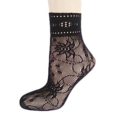 Femmes élastiques en élastique à fleurs en dentelle Chaussettes à manches courtes Chaussettes à filets Bobury
