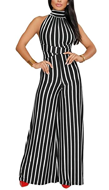 5105d5f832a ouxiuli Women Sleeveless Vouge Halter Stripe Printed Wide Leg Pants OL Low  Back Jumpsuit Romper Black