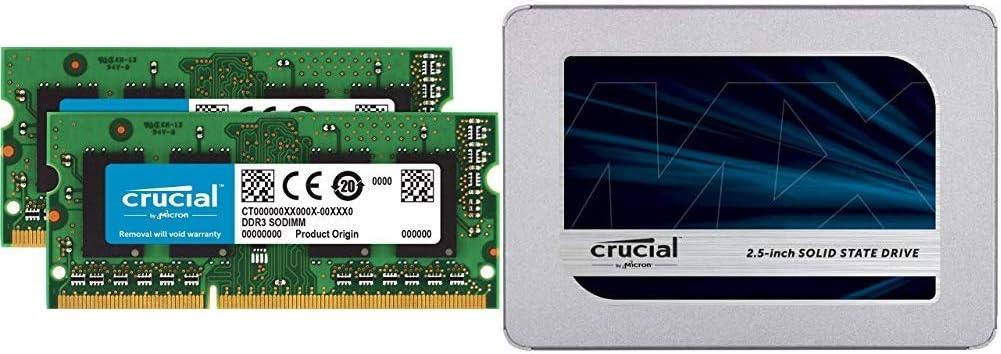 Crucial MX500 250GB 3D NAND SATA 2.5 Inch Internal SSD - CT250MX500SSD1(Z) Bundle with Crucial 8GB Kit (4GBx2) DDR3/DDR3L 1600 MT/S (PC3-12800) Unbuffered SODIMM 204-Pin Memory - CT2KIT51264BF160B