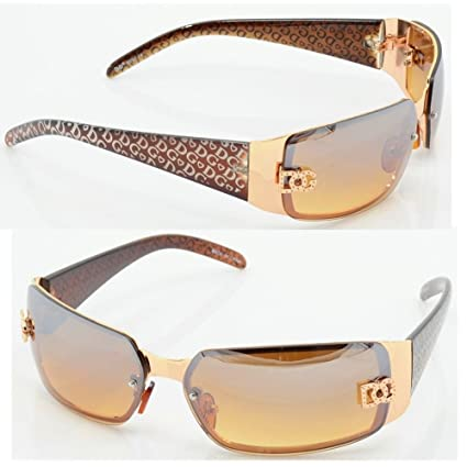 da1bc91d99 Image Unavailable. Image not available for. Color: DG Women Fashion  Designer Sunglasses Shades Rectangular Wrap Gold Brown NEW 5024