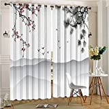 Analisahome Burgundy Blackout Curtains Grommet Chinese Painting Style Artwork With Branches Birds Mountains Red Black Thermal Insulated Solid Grommet Curtains(2 Panels, 84″ x 84″) Review