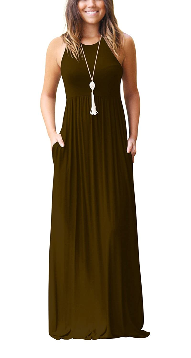 Coffee Roshop Women Sleeveless Loose Plain Long Maxi Casual Dress with Pockets
