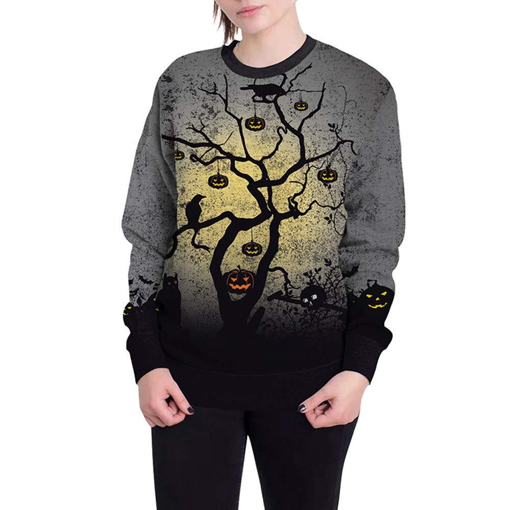 HHei_K Womens Halloween Fashion Terror Pumpkin Print Long Sleeve Hooded Sweatshirt