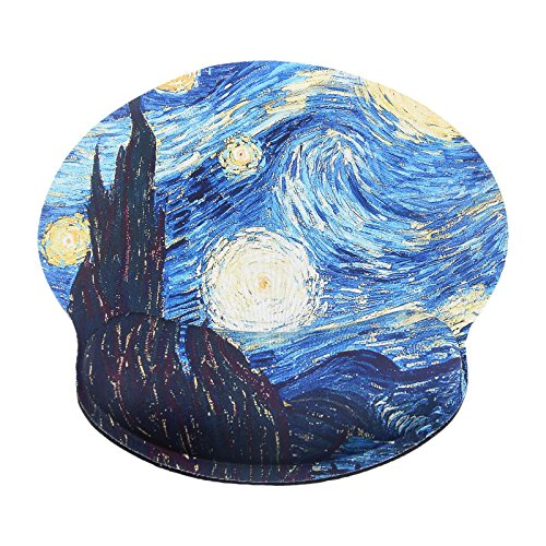 Mouse Pad for Computers Ergonomic Memory Foam Nonslip Van Gogh Wrist Support-Lightweight Rest Mousepad for Office,Gaming,Computer, Laptop & Mac,Pain Relief,at Home Or Work (Starry Night) by eyscar