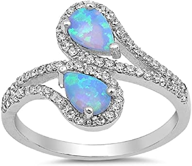 CloseoutWarehouse Infinity Cubic Zirconia Blue Simulated Opal 925 Sterling Silver Size 8