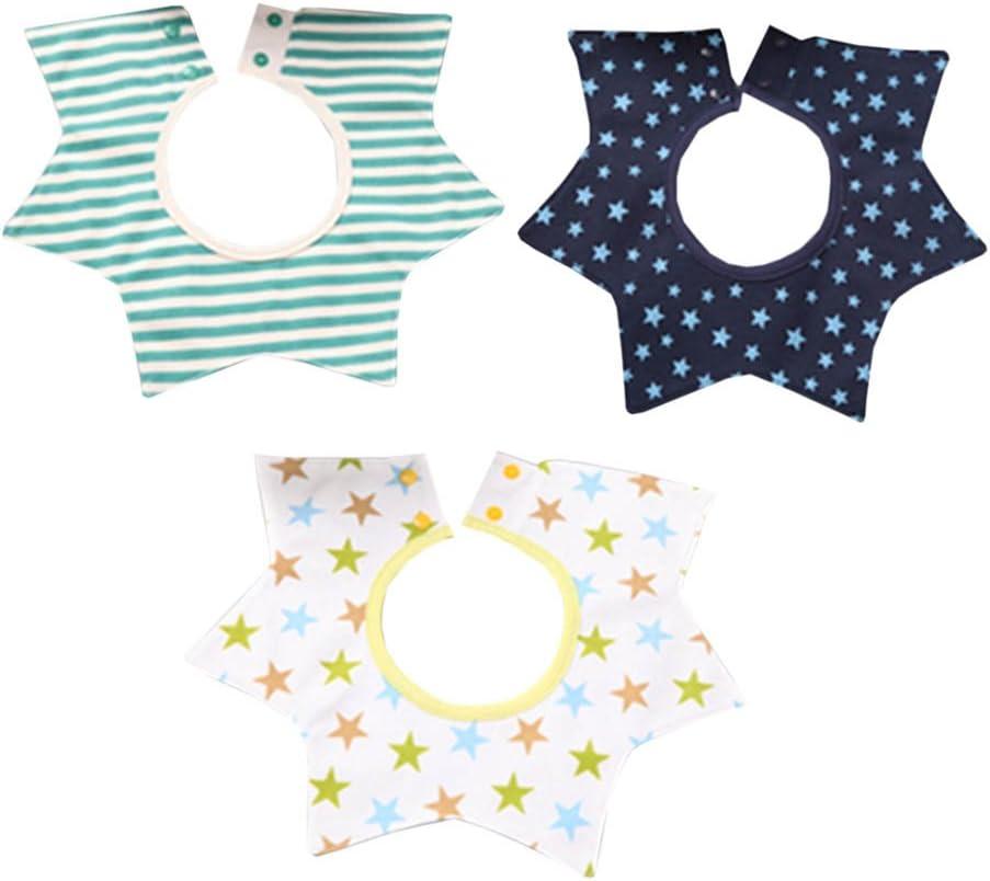 Stars Stripes 3 Pcs Cotton Waterproof Baby Bibs 360 Degree Rotation