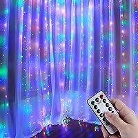 Anpro Luz Cadena Luz de Cortina USB, 4 Colores con 320 Bombillas LED, 8 Modos,3.2m X 3 m,Luz Cortina para Fiestas,Navidad,Año nuevo
