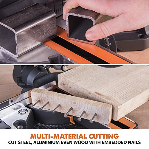 Evolution Power Tools R210SMS+ Sliding Mitre Saw With Multi-Material Cutting, 45° Bevel, 50° Mitre, 230mm Slide, 1500 W, (230 V)