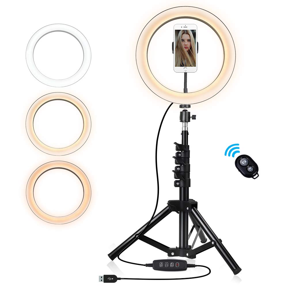 10-inch Selfie Ring Light with Tripod Stand & Cell Phone Holder, Dimmable Camera Light for Makeup Video Vlog,3 Colors Optional - Warm,White,Yellow by GHodec