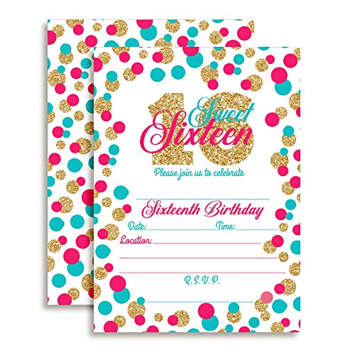 "Confetti Polka Dot Sixteenth Birthday Party Invitations for Girls, 20 5""x7"" Fill In Cards with Twenty White Envelopes by AmandaCreation"