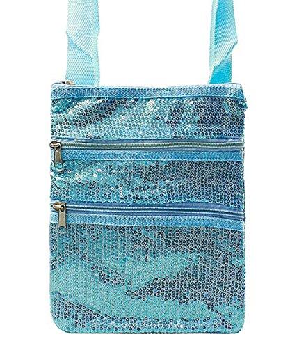 Wholesale Designer Inspired Handbags - Sequine Small Messenger Hipster Cross Body Bag (Turquoise)