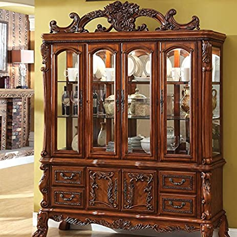 medieve english style antique oak finish formal china cabinet hutch