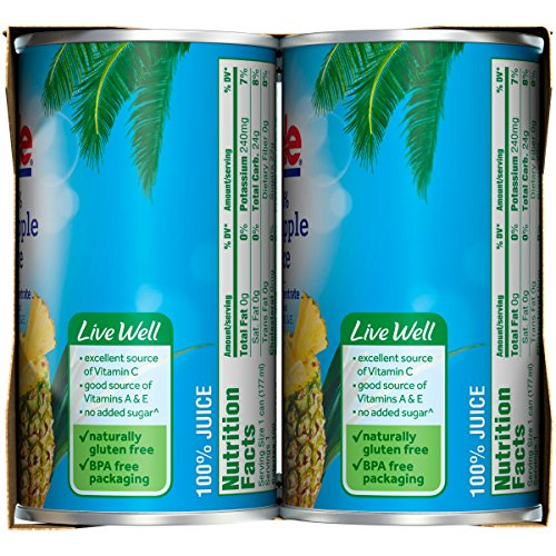 Dole 100% Pineapple Juice, 6 Ounce Can (Pack of 6), Pineapple Juice in Individual-Serving Cans, Great for Smoothies Drinks Marinades Desserts and More by Dole (Image #8)