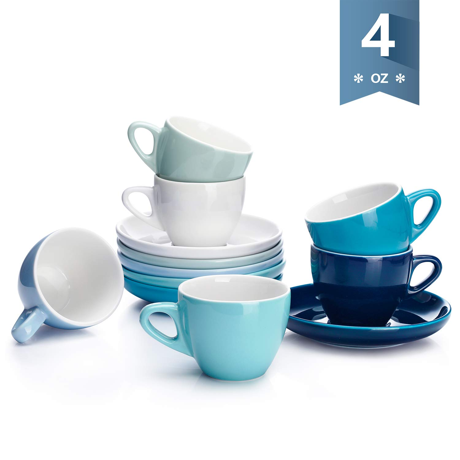 Sweese 402.003 Espresso Cups with Saucers, 4 Ounce Demitasse Cups, Perfect for Single or Double Espresso, Cappuccino, Latte and Tea - Set of 6, Cool Assorted Colors