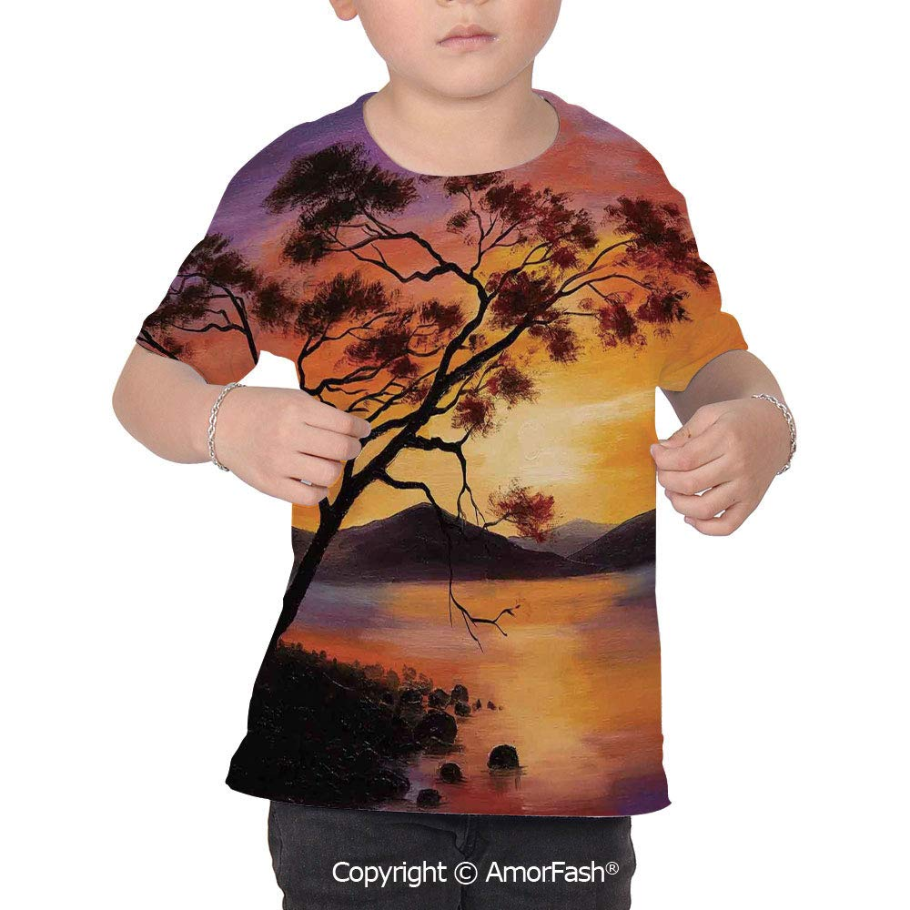 Country Decor Over Print T-Shirt,Boy T Shirt,Size XS-2XL Big,Picture of an Old T