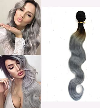Amazon full shine 100 human remy hair weave gray hair full shine 100 human remy hair weave gray hair extensions new color 22quot body pmusecretfo Choice Image