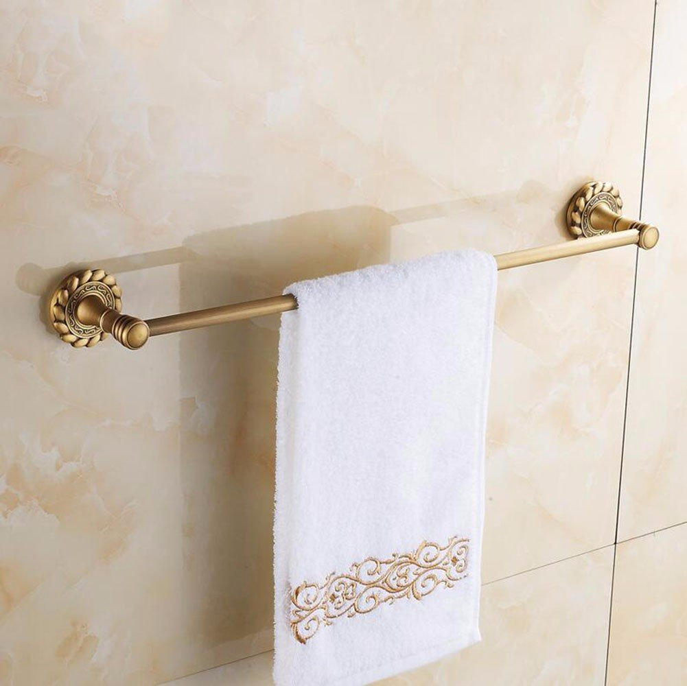 Yomiokla Bathroom Accessories - Kitchen, Toilet, Balcony and Bathroom Metal Towel Ring All Copper Antique European Country Single Lever Towel Antique Ornaments Luxury Carved Copper Drilling 60cm by Yomiokla (Image #1)