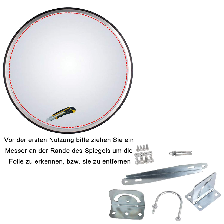 Espejo de Seguridad Espejo de la Vigilancia Panorámica Espejo Convexo Policarbonato Tráfico 30CM Negro: Amazon.es: Bricolaje y herramientas