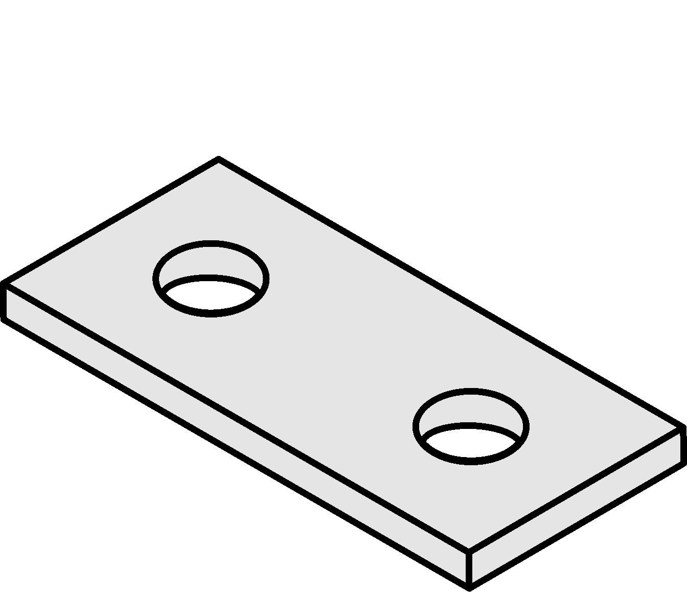 VERSABAR VF-1201 2 Hole Flat Plate Connector Zinc Plated for 1-5/8'' Channel 5/BX