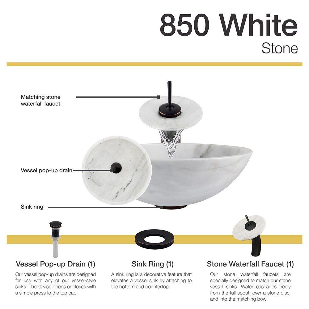 850 White Granite Vessel Sink Antique Bronze Bathroom Ensemble with ...