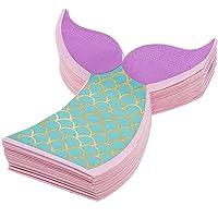 Servilleta de papel con cola de sirena para fiesta de cumpleaños (15 x 15 pulgadas, 50 unidades)