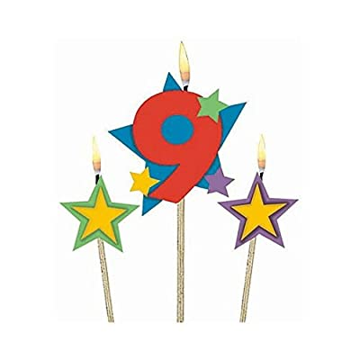 "#9 Decorative Birthday Candle & Star Candles | Party Supply, (Pack of 3) 5"", 7"": Birthday Candles: Kitchen & Dining"