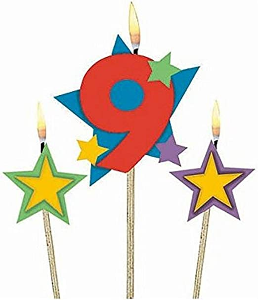Birthday Candle NIne Candle Multi Colored Candle Pink Candle Birthday Cake Candle Party Candle Polka Dot Candle Age Nine 9 Candle