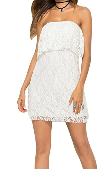 a050758cb Amazon.com: Fubotevic Womens Sexy Strapless Lace Bodycon Cocktail Party  Club Mini Dress White OS: Clothing