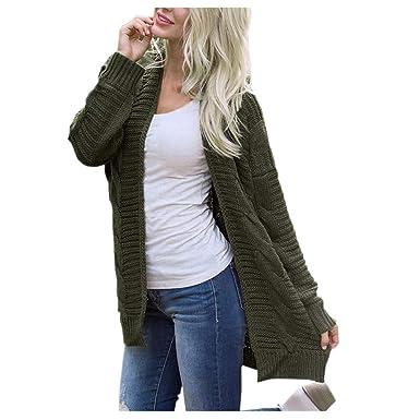 9eea6def18 NREALY Jacket Women s Long Sleeve Knitwear Open Front Cardigan Sweaters  Casual Outerwear(Army Green,