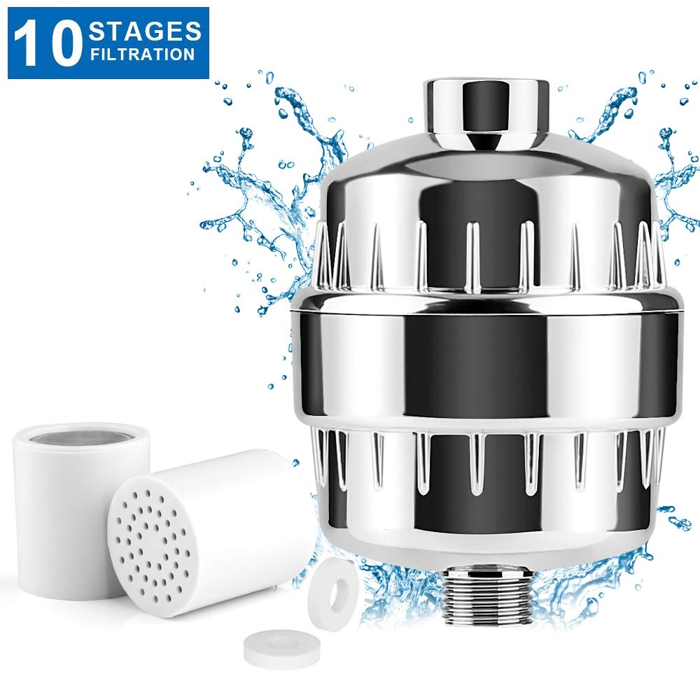 Universal Shower Water Filter with 2 Cartridges-KAMLYNN Multi-Stage Bath Water Purifier For Any Shower Head and Handheld Shower-Hard Water Softener Removing Chlorine, Heavy Metals, Bacteria & Viruse