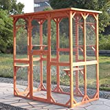 LAZYMOON Pet House Outdoor Run Wooden Cat Rabbit Home w Outside Fun Run Small Animal Shelter Cage