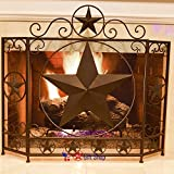 BestGiftEver Metal Foldable Fireplace Screen with Star in Brown Metal Mesh Rustic Western Country Style