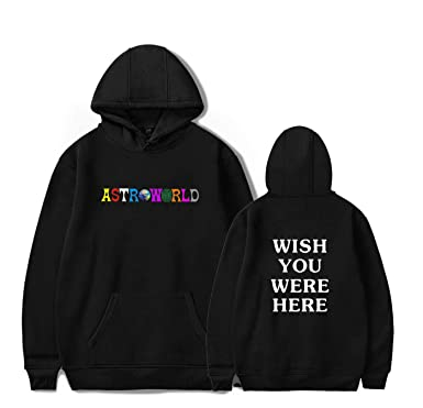 6ef1d1270e03 Amazon.com: Fashion ASTROWORLD Letter Print Hoodie, Wish You were Here  Pullover Sweatshirt: Clothing