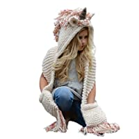 Trustforever Girls Hoodie Hat Scarf, Unicorn Tassel Wool Winter Fall Knitted Shawl Hats Cap Hooded Cloak Cape Caps Beanies Party Cosplay Gifts for 3-12 Year Old Girls - Pink Unicorn