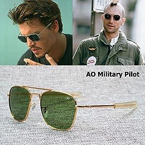 Sunglasses Brand American Optical Glass Lens New Fashion Army MILITARY AO Pilot 54mm