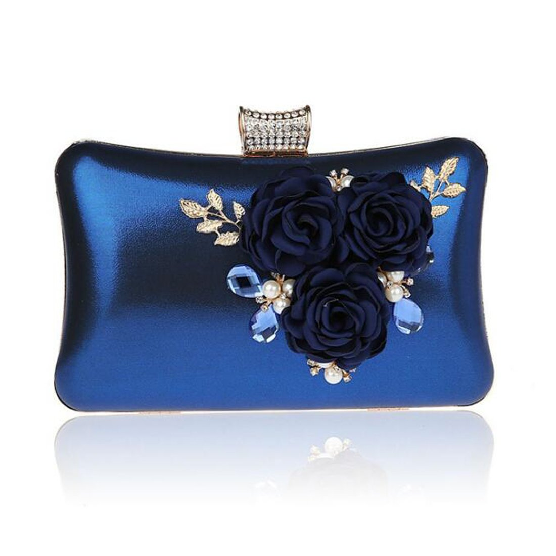 EPLAZA Women Large Capacity Flora Evening Clutch Bags Wedding Party Purse Handbags Wallet (blue)