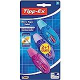 BIC Tipp-Ex Micro Tape Twist - Blíster de 3 cintas correctoras de 5 mm x 8 m, multicolor