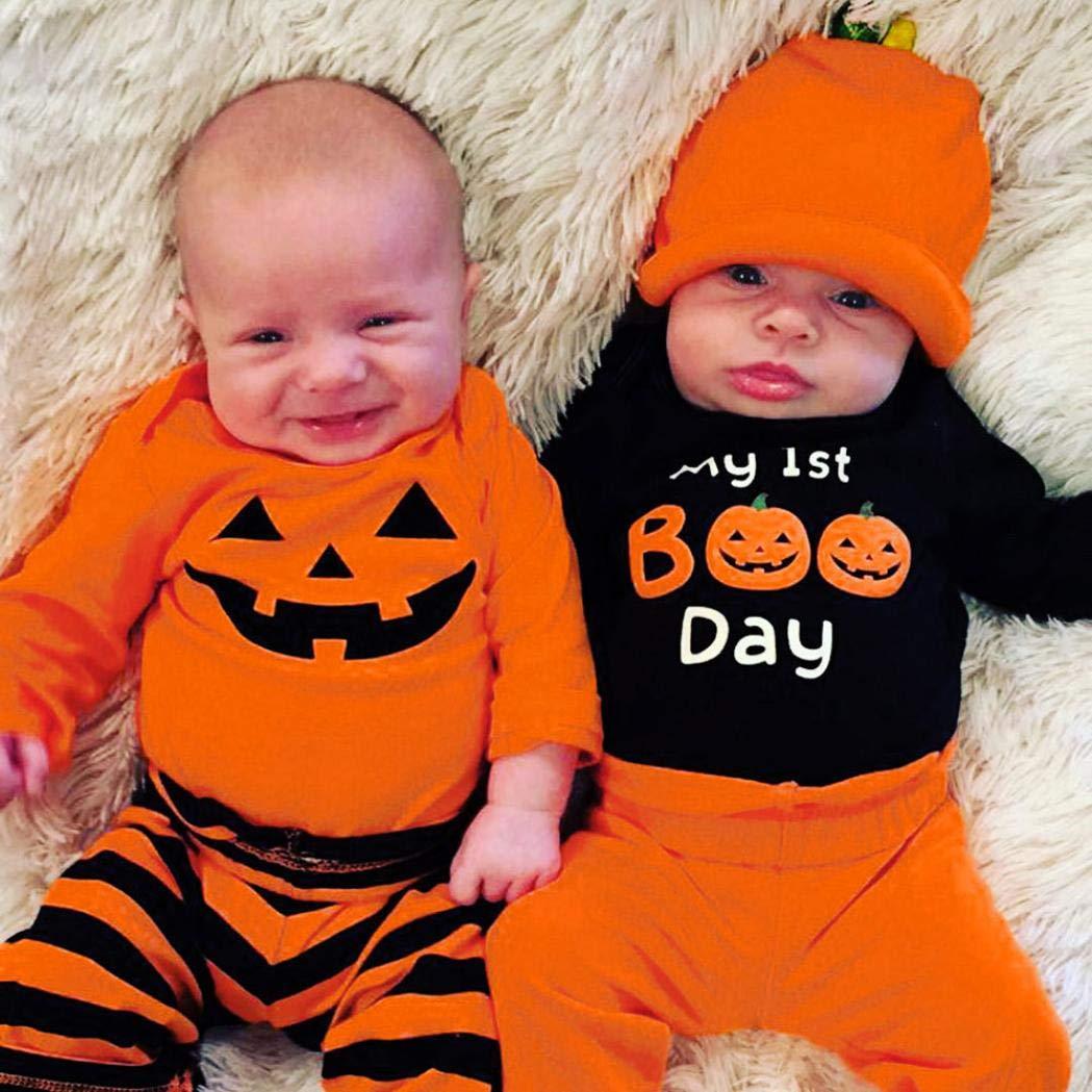DEELIN Bebé De Manga Larga Halloween Romper + Pantalones De Rayas + Sombrero Conjunto Naranja/Negro: Amazon.es: Ropa y accesorios