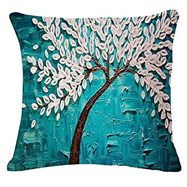 Oil Painting Black Large Tree and Flower Birds Cotton Linen Throw Pillow Case Cushion Cover Home Sofa Decorative 18 X 18 Inch (white)