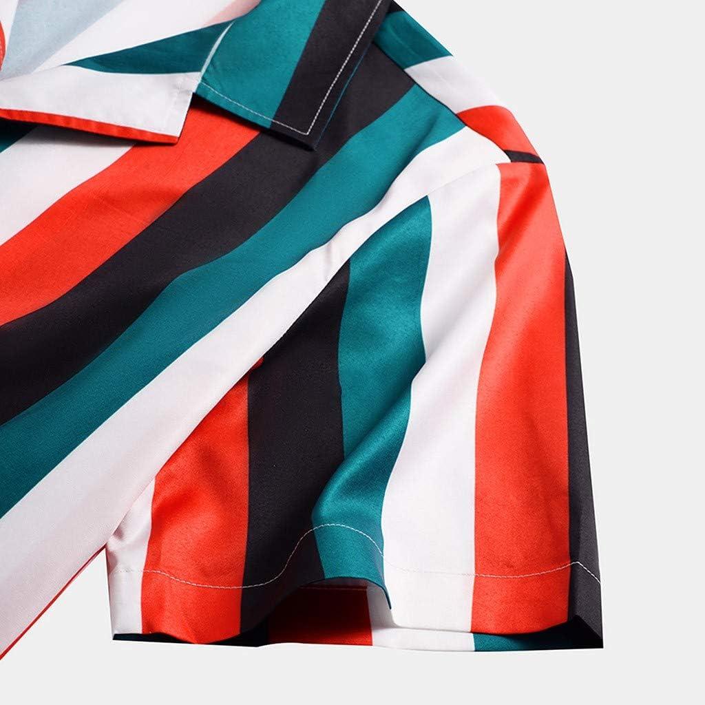 Striped Print Men Shirts Adjustable Short-Sleeve Multiple Colours ZSBAYU Funky Hawaiian Shirt Front-Pocket