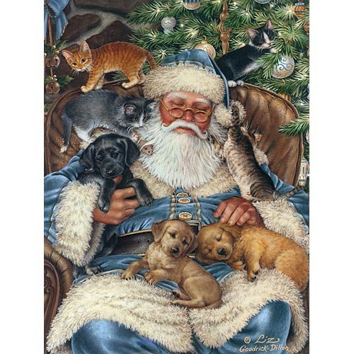 Bits and Pieces - 300 Large Piece Jigsaw Puzzle for Adults - Santa Nap - 300 pc Puppies, Kittens, Holiday Jigsaw by Artist Liz Goodrick-Dillon
