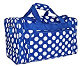 Ever Moda Polka Dot Duffle Bag (Royal Blue, Medium)